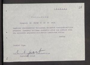 Johan-Ernst-Hans Markus követ válasza a Tallinnból kapott táviratra. Kép: Észt Külügyminisztérium