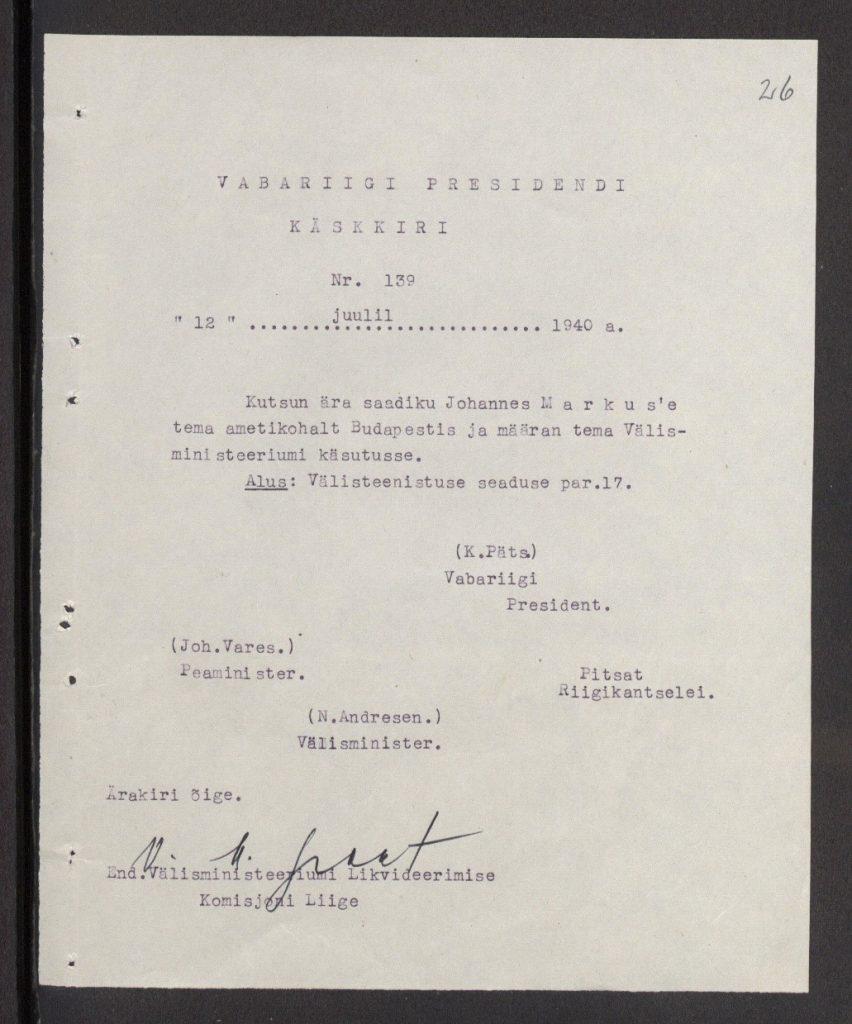 Foto: saadik Johan-Ernst-Hans Markusele tagasikutsumise käskkiri (allikas: Välisministeerium).