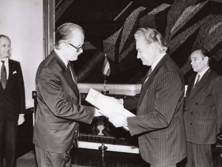 Suursaadik Bela Jávorszky volikirja üleandmise tseremoonia. Foto: Välisministeerium