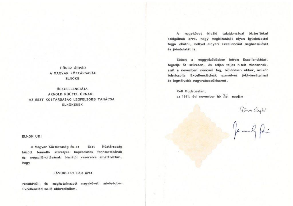Suursaadik Bela Jávorszky volikirja üleandmise tseremoonia (allikas: Välisministeerium)