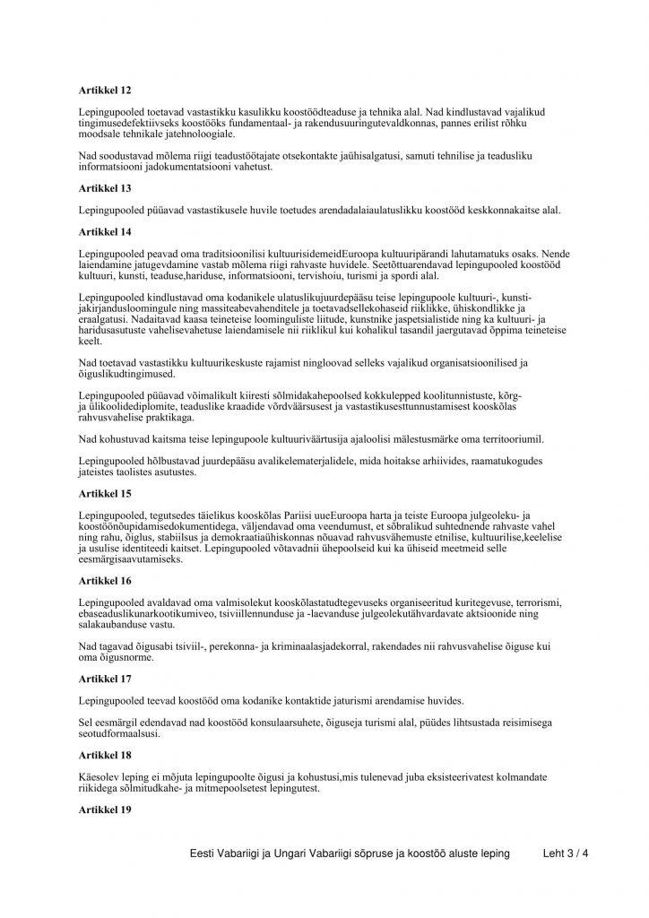 Eesti Vabariigi ja Ungari Vabariigi sõpruse ja koostöö aluste leping (allikas: Riigi Teataja)