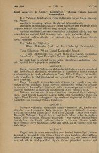 Agreement between the Republic of Estonia and the Kingdom of Hungary regarding intellectual cooperation between the two countries. Photo: Riigi Teataja, No. 100, 17 December 1937 https://dea.digar.ee/cgi-bin/dea?a=d&d=AKriigiteataja19371217.2.4