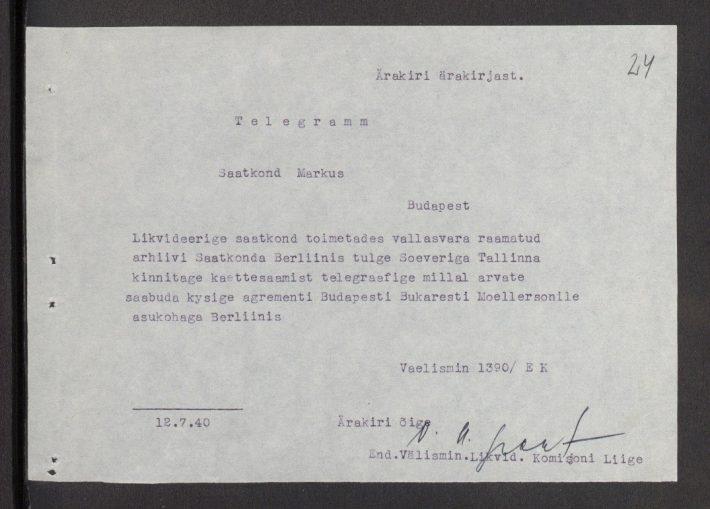 a Johan-Ernst-Hans Markus követnek Tallinnból küldött távirat, melyben elrendelik a budapesti képviselet felszámolását. Kép: Észt Külügyminisztérium