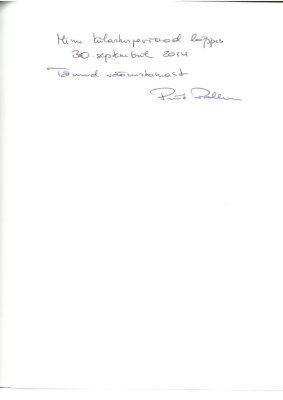 Priit Pallum nagykövet zárszava a nagykövetség vendégkönyvében 2014. szeptember 30-án. Kép: a Budapesti Észt Nagykövetség levéltára